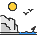 sun, Flying, travel, view, rocky, Beach, Beaches, sea, Coast Black icon