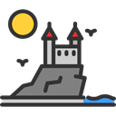 Castles, Monuments, landscape, Castle, medieval, Architecture And City, Fantasy, Constructions, fortress Black icon