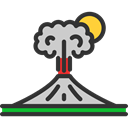 Eruption, nature, Disaster, volcano, dangerous Black icon