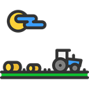 Farm, house, Country, hills, nature, field, landscape, tractor, Fields, rural Black icon