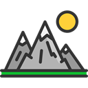 Snow, landscape, mountains, nature, Altitude Black icon