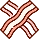 Bacon, food, Food And Restaurant, Strips, Bacons, Bacon Strips Maroon icon
