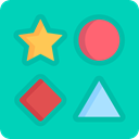 star, Circle, triangle, Kid And Baby, Puzzle, square, shapes DarkTurquoise icon