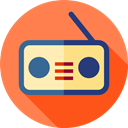 Communications, radio, electronic, music, technology, vintage Coral icon