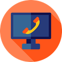 Computer, Tv, telephone, monitor, television, screen, Video Call, Communications, technology Coral icon