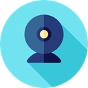 Webcam, video chat, technology, Videocall, Communications, Cam, electronics, Videocam SkyBlue icon