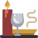 meal, dinner, Wine Glass, Dish, Food And Restaurant, Tools And Utensils, Lunch, Plate, Candle Black icon