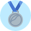 Prize, Silver Medal, sports, second, Sports And Competition, medal PaleTurquoise icon