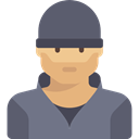 people, criminal, job, user, profession, Occupation, Burglar, thief, Man, Avatar, robber DimGray icon