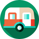transport, Caravan, vehicle, transportation, summer, Camping, Holidays, Trailer Teal icon
