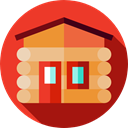 Cabin, Home, house, real estate, property, buildings, Construction, residential Crimson icon