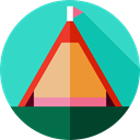 Forest, Holidays, woods, nature, Camping, Tent, rural Turquoise icon