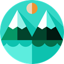 landscape, rural, lake, nature, mountain Turquoise icon