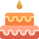 Dessert, birthday, Birthday Cake, cake, Celebration, Bakery, Kid And Baby, food LightSalmon icon