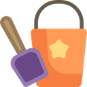 Bucket, childhood, shovel, Tools And Utensils, Kid And Baby, Sand Bucket, Summertime, leisure, Beach SandyBrown icon