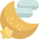 Moon Phase, night, nature, Half Moon, Kid And Baby SandyBrown icon