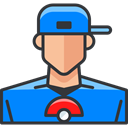 video game, player, pokemon, gaming, user, Boy, Avatar, nintendo DodgerBlue icon