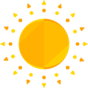 Sunny, warm, summer, meteorology, Summertime, sun, weather, nature Orange icon
