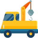 transportation, truck, transport, mechanic, Crane, garage, Trucks, Cranes Gold icon