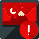 Alert, image, warning, photo, picture, photography, interface, landscape, Files And Folders Red icon