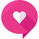 Heart, Chat, messages, speech bubble, romantic, Valentines Day, Love Message, Love And Romance DeepPink icon