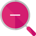zoom, detective, ui, Loupe, Zoom out, Tools And Utensils, search, magnifying glass MediumVioletRed icon