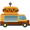 transportation, truck, transport, van, Fast food, trucking, Delivery Truck, Hot Dog, Shipping And Delivery Black icon