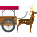 Animals, Sleigh, deer, sled, sledge, transportation, transport Black icon
