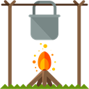 Camping, Holidays, Cooking, rural, Pot On Fire Black icon
