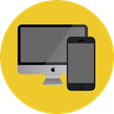 Computer, monitor, screen, Devices, Tablet, mobile phone, cellphone, smartphone, technology, electronics Goldenrod icon