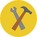 tools, settings, hammer, Wrench, repair, Construction And Tools Goldenrod icon