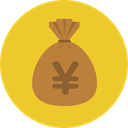 Business, Money, yen, Currency, Bank, banking, money bag, Business And Finance Goldenrod icon