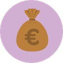 Euro, Business, Money, Currency, Bank, banking, money bag, Business And Finance Thistle icon
