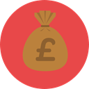 Business And Finance, Bank, banking, money bag, Pound Sterling, Business, Money, Currency Tomato icon