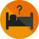 Bed, Sleeping, Signaling, sign, hotel, Sleepy, Hostel, help DarkOrange icon