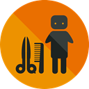 people, Beauty, Hairdresser, Hair Salon, Humanpictos, Professions And Jobs DarkOrange icon