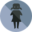 Femenine, Humanpictos, people, woman, bathroom, toilet DarkGray icon