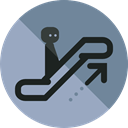 Device, sign, transportation, escalator, stick man DarkGray icon