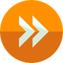 Arrows, Fast forward, Orientation, interface, Direction, Multimedia Option DarkOrange icon