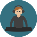 Man, people, party, user, Dj, Avatar, Occupation, Disc Jokey, job, Club, disco, profession SeaGreen icon