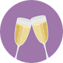 Glasses, party, Alcohol, food, toast, champagne, Celebration, Champagne Glass, Alcoholic Drinks, Food And Restaurant, Birthday And Party RosyBrown icon