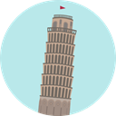 Monuments, Architectonic, Leaning Tower Of Pisa, Building, europe, landmark, italy PaleTurquoise icon