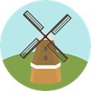 landmark, Monuments, Architectonic, Kinderdijk Windmills PaleTurquoise icon