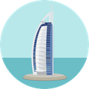 Building, Dubai, emirates, Monument, landmark, Monuments, Architectonic, Burj Al Arab PaleTurquoise icon