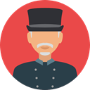 user, profile, Avatar, job, profession, Doorman, Professions And Jobs Tomato icon
