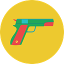 pistol, weapons, Toy, Gun, Crime, Arm, gaming Goldenrod icon