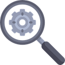 Gear, magnifying glass, cogwheel, Seo And Web, search engine, Loupe, Tools And Utensils Black icon