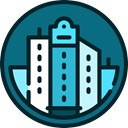 Building, city, town, nature, buildings, urban, Architectonic, Cityscape Teal icon