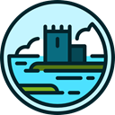 nature, landscape, Castle, buildings, medieval PaleTurquoise icon
