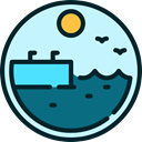 lake, pier, Quay, Dock, nature, sea, landscape PaleTurquoise icon